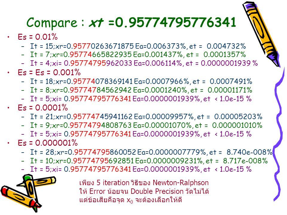 Compare : xt =0.95774795776341 Es = 0.01% Es = Es = 0.001%