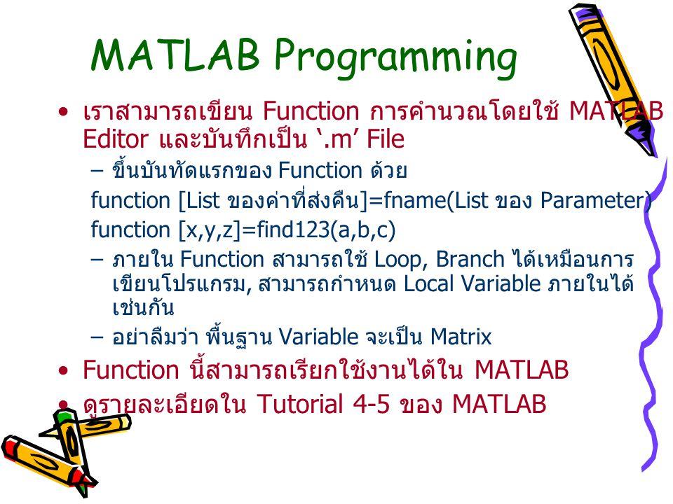 MATLAB Programming เราสามารถเขียน Function การคำนวณโดยใช้ MATLAB Editor และบันทึกเป็น '.m' File. ขึ้นบันทัดแรกของ Function ด้วย.