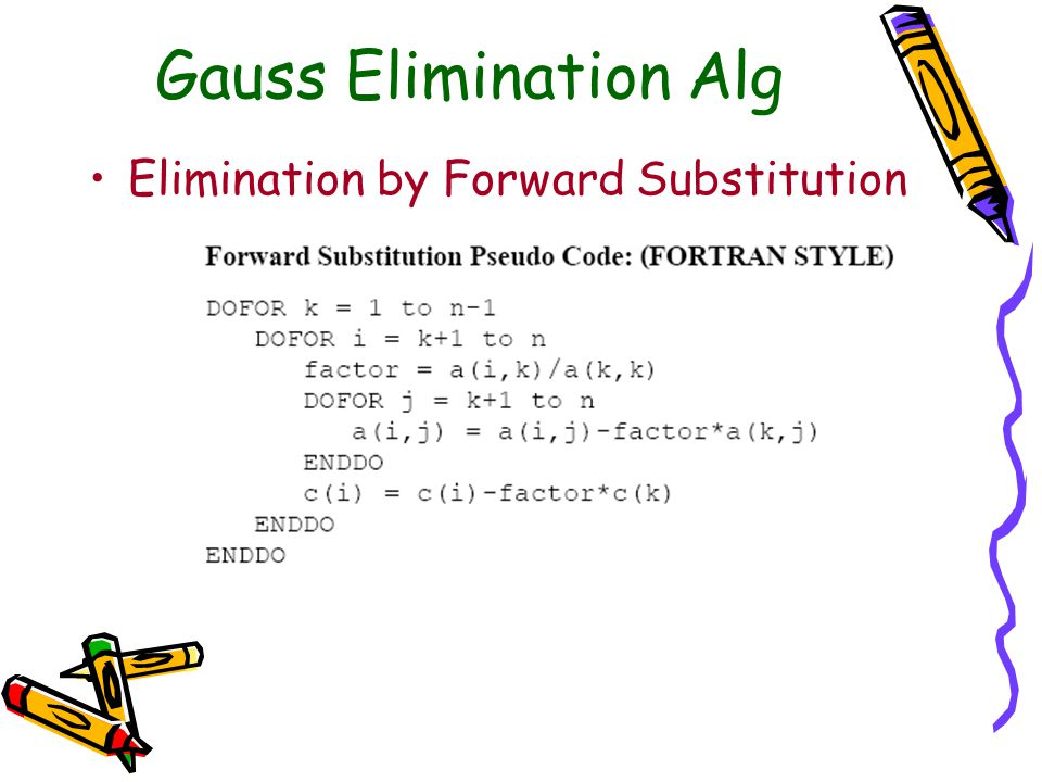 Gauss Elimination Alg Elimination by Forward Substitution