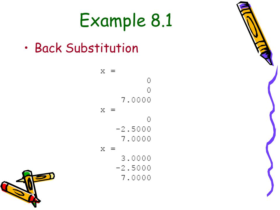 Example 8.1 Back Substitution