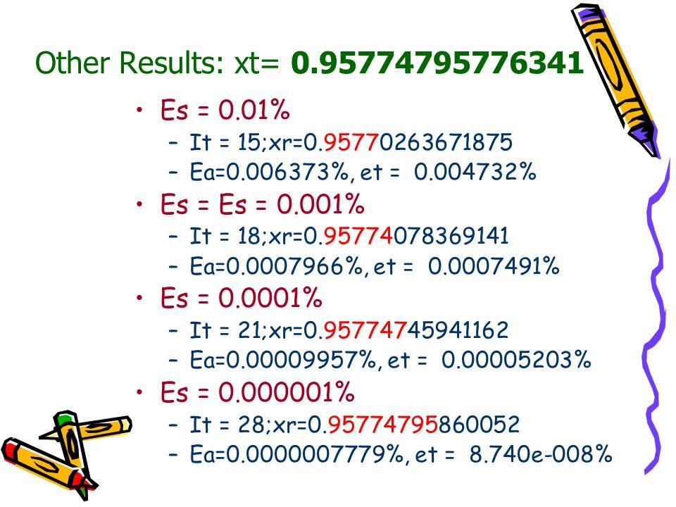 Other Results: xt= 0.95774795776341 Es = 0.01% Es = Es = 0.001%