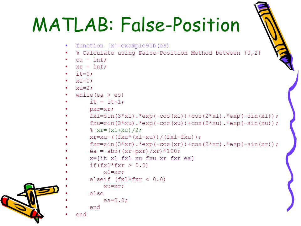 MATLAB: False-Position