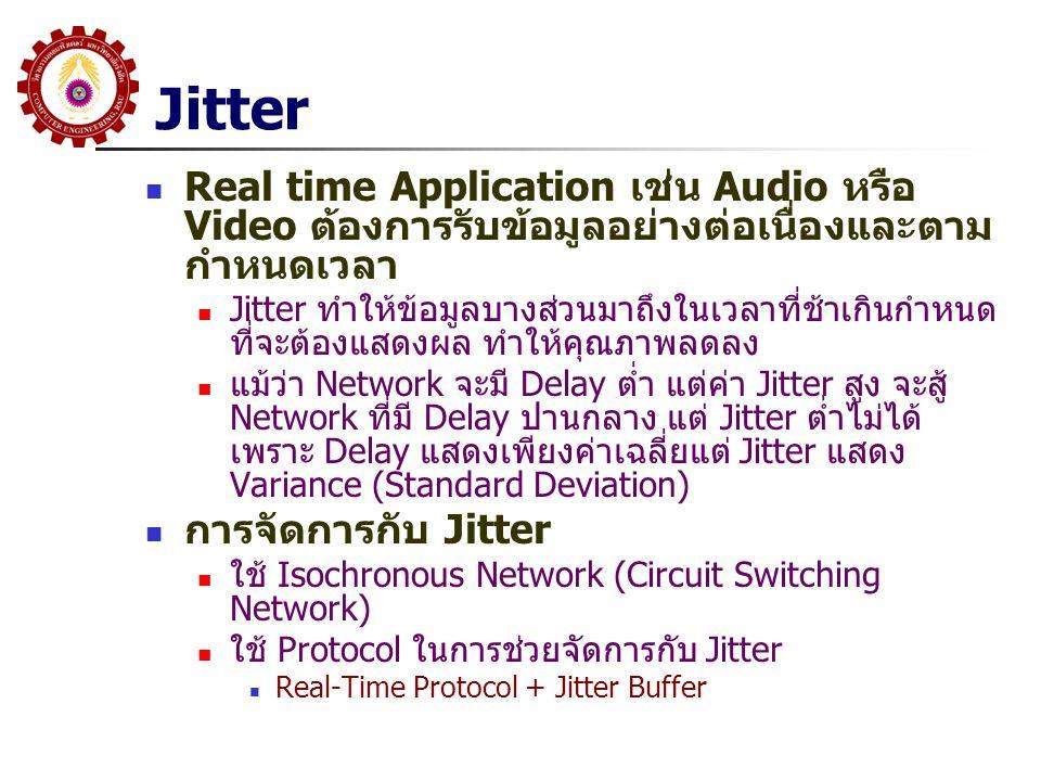 Jitter Real time Application เช่น Audio หรือ Video ต้องการรับข้อมูลอย่างต่อเนื่องและตามกำหนดเวลา.