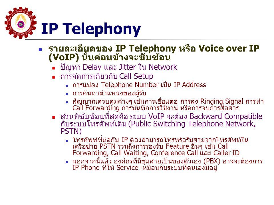 IP Telephony รายละเอียดของ IP Telephony หรือ Voice over IP (VoIP) นั้นค่อนข้างจะซับซ้อน. ปัญหา Delay และ Jitter ใน Network.