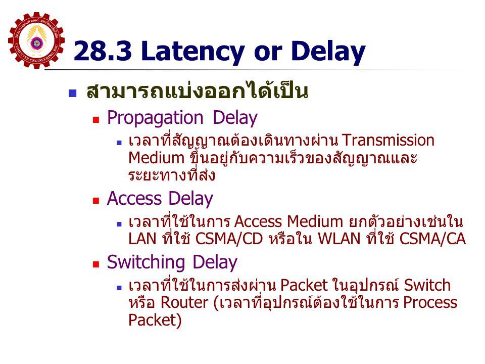 28.3 Latency or Delay สามารถแบ่งออกได้เป็น Propagation Delay