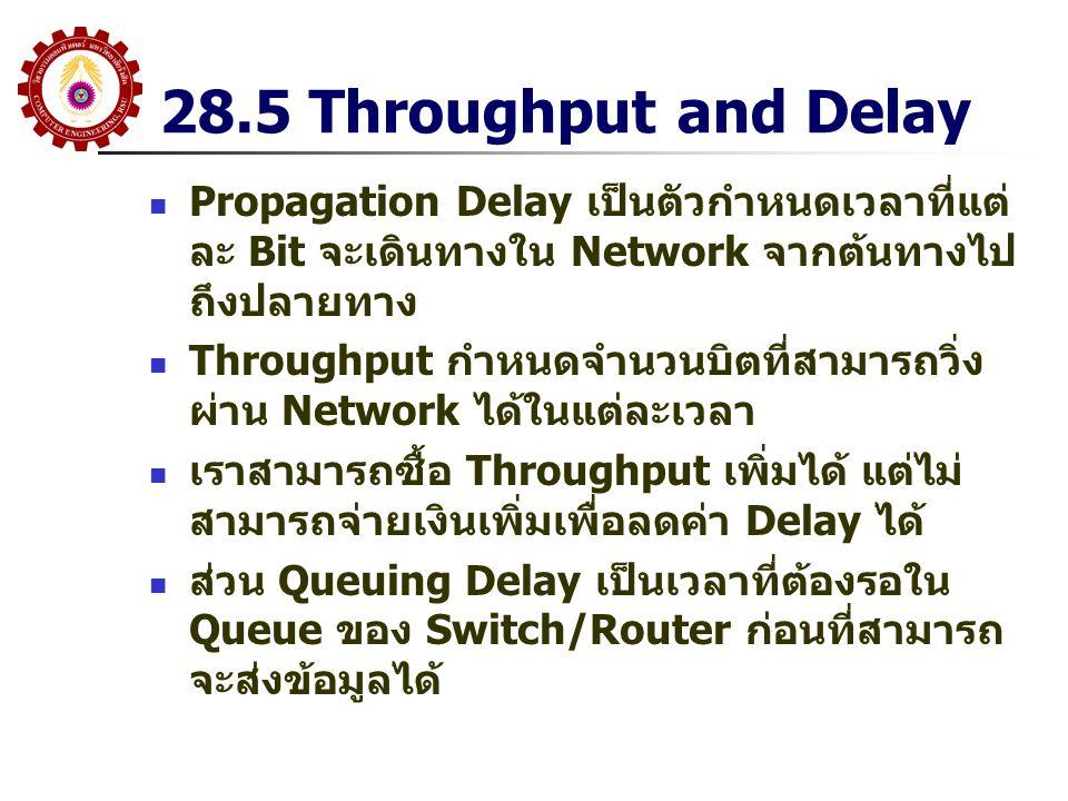 28.5 Throughput and Delay Propagation Delay เป็นตัวกำหนดเวลาที่แต่ละ Bit จะเดินทางใน Network จากต้นทางไปถึงปลายทาง.