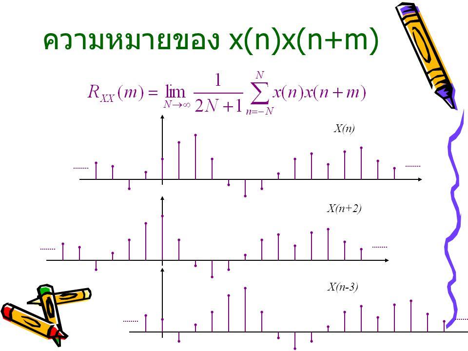 ความหมายของ x(n)x(n+m)