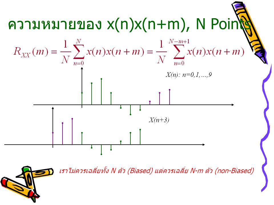ความหมายของ x(n)x(n+m), N Points