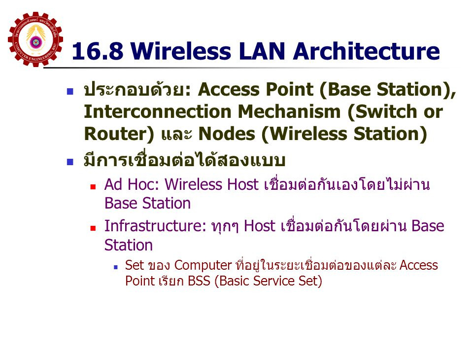 16.8 Wireless LAN Architecture