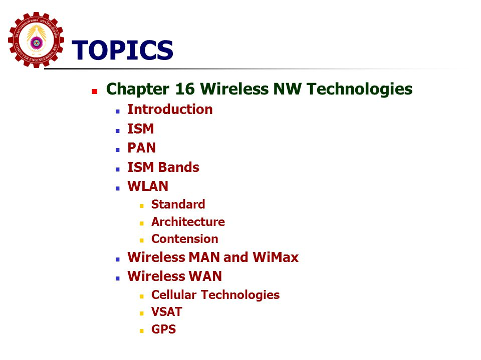 TOPICS Chapter 16 Wireless NW Technologies Introduction ISM PAN