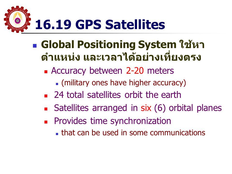 16.19 GPS Satellites Global Positioning System ใช้หาตำแหน่ง และเวลาได้อย่างเที่ยงตรง. Accuracy between 2-20 meters.