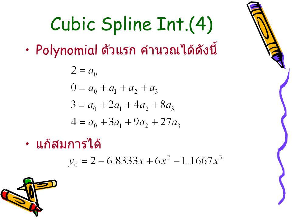 Cubic Spline Int.(4) Polynomial ตัวแรก คำนวณได้ดังนี้ แก้สมการได้