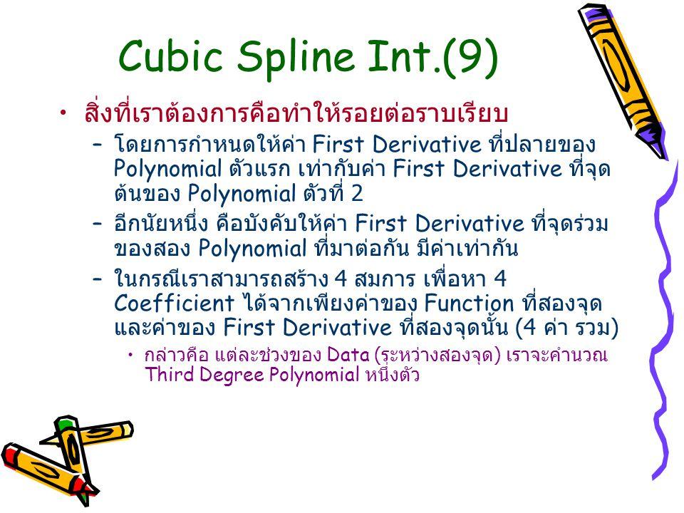 Cubic Spline Int.(9) สิ่งที่เราต้องการคือทำให้รอยต่อราบเรียบ
