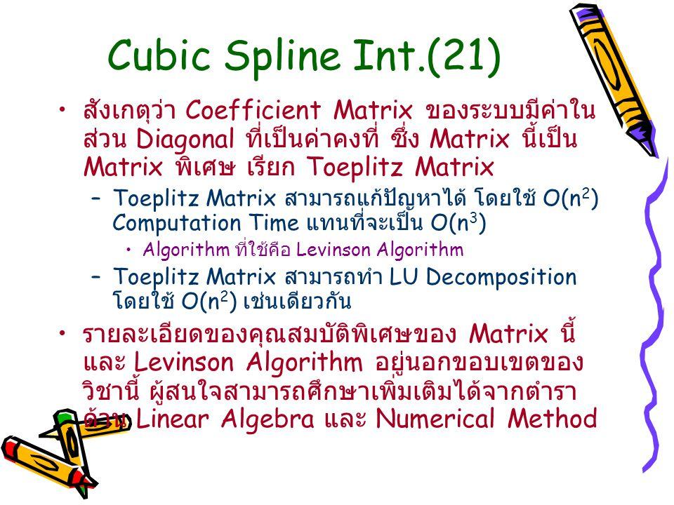 Cubic Spline Int.(21)