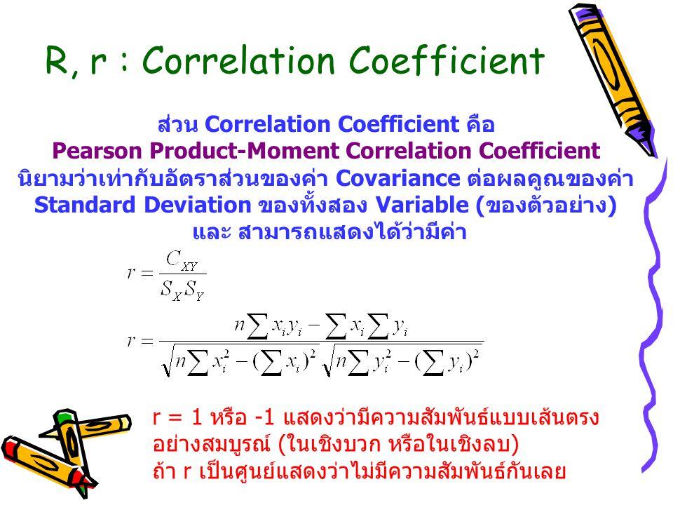 R, r : Correlation Coefficient