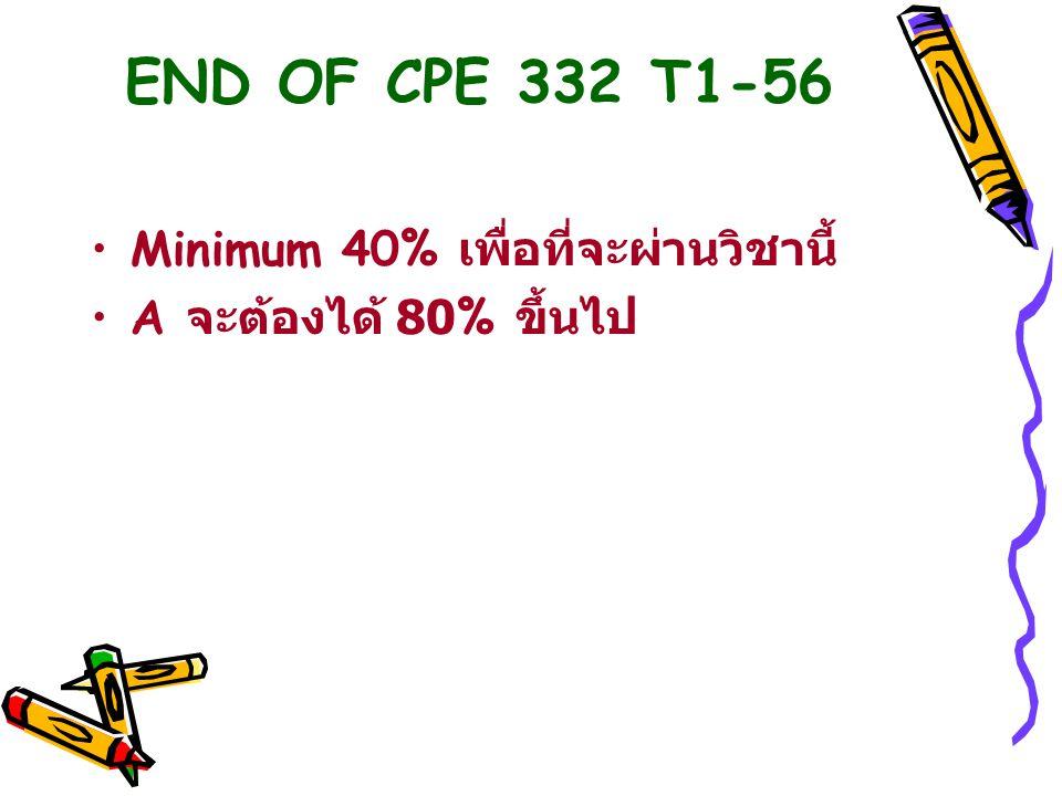 END OF CPE 332 T1-56 Minimum 40% เพื่อที่จะผ่านวิชานี้
