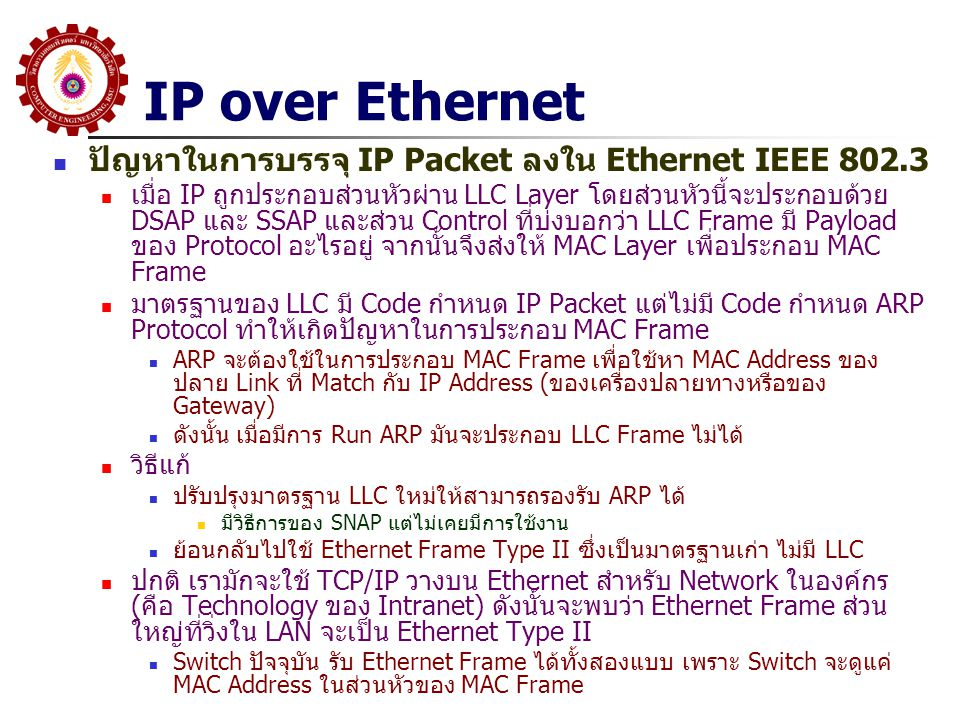 IP over Ethernet ปัญหาในการบรรจุ IP Packet ลงใน Ethernet IEEE 802.3
