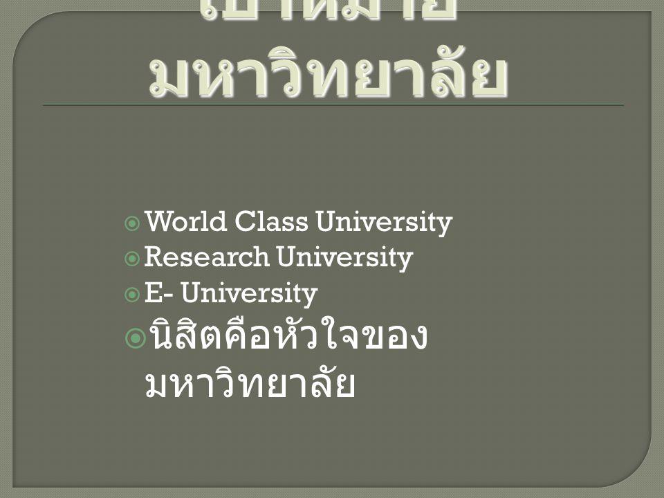 เป้าหมายมหาวิทยาลัย นิสิตคือหัวใจของมหาวิทยาลัย World Class University
