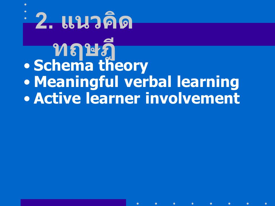 2. แนวคิดทฤษฎี Schema theory Meaningful verbal learning