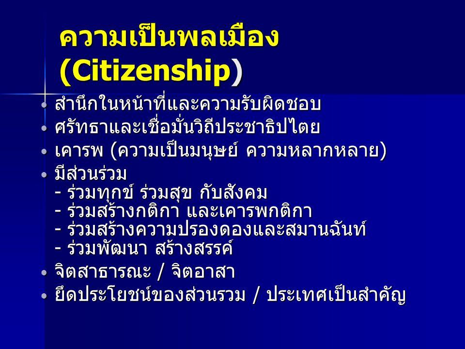 ความเป็นพลเมือง (Citizenship)