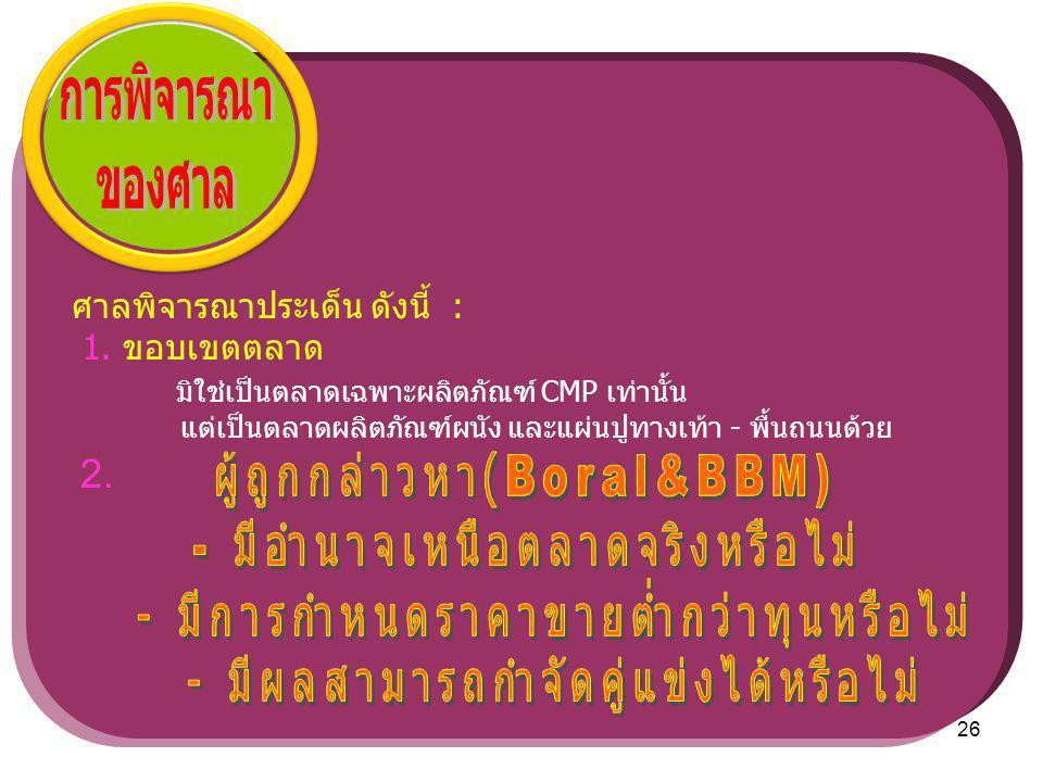 การพิจารณา ของศาล ผู้ถูกกล่าวหา(Boral&BBM)