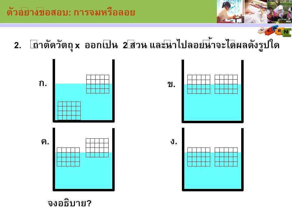 ตัวอย่างข้อสอบ: การจมหรือลอย