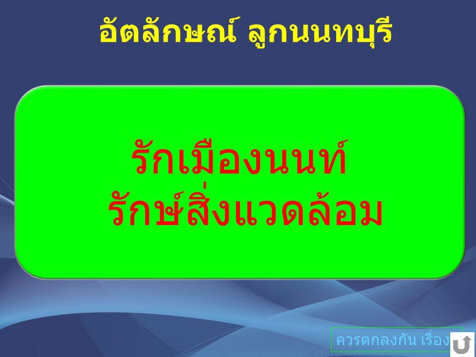 รักเมืองนนท์ รักษ์สิ่งแวดล้อม อัตลักษณ์ ลูกนนทบุรี