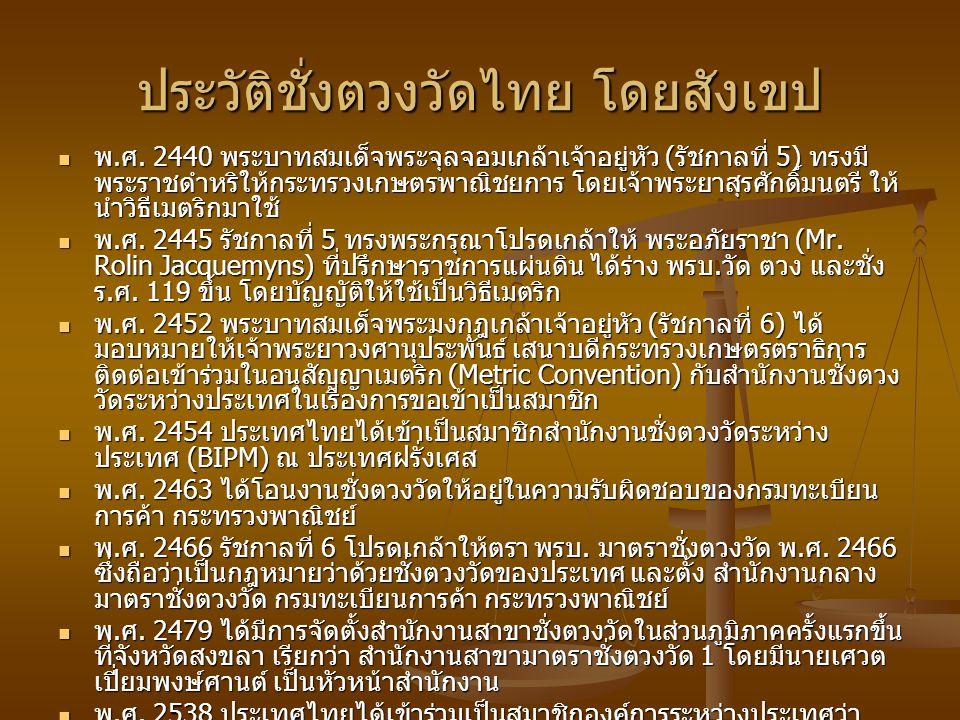 ประวัติชั่งตวงวัดไทย โดยสังเขป
