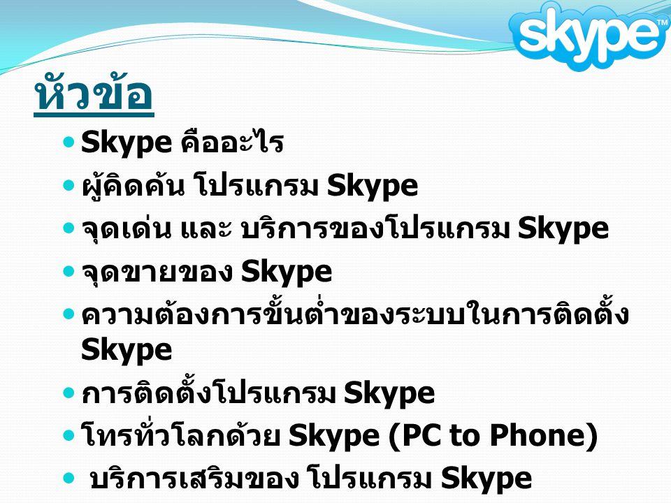 หัวข้อ Skype คืออะไร ผู้คิดค้น โปรแกรม Skype