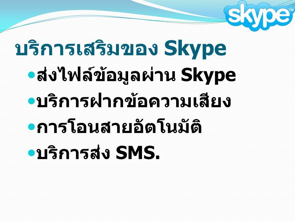 บริการเสริมของ Skype ส่งไฟล์ข้อมูลผ่าน Skype บริการฝากข้อความเสียง