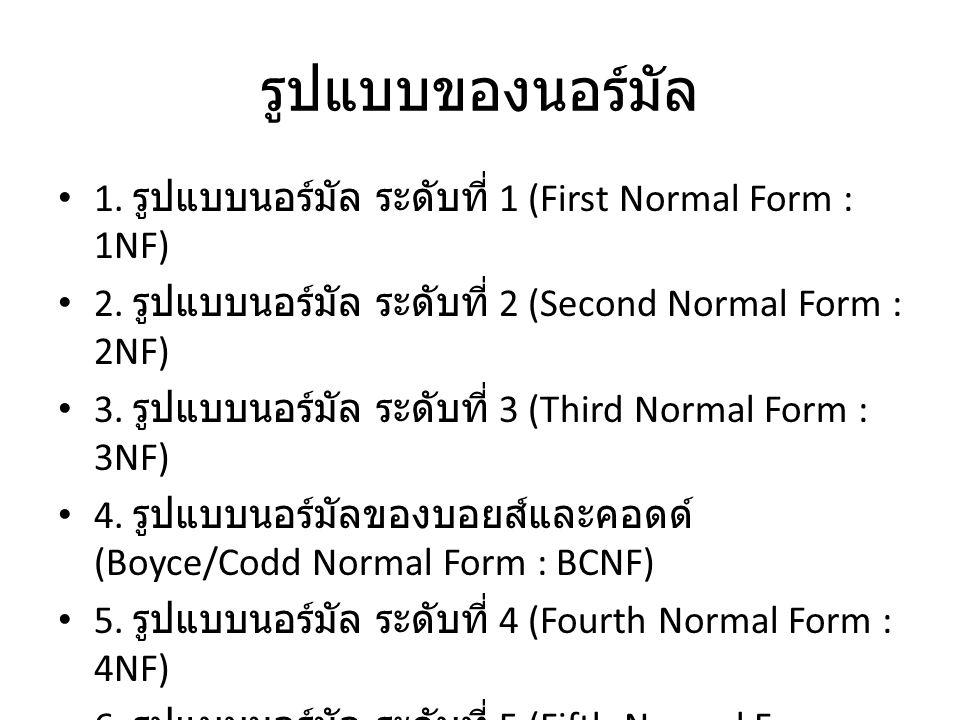 รูปแบบของนอร์มัล 1. รูปแบบนอร์มัล ระดับที่ 1 (First Normal Form : 1NF)