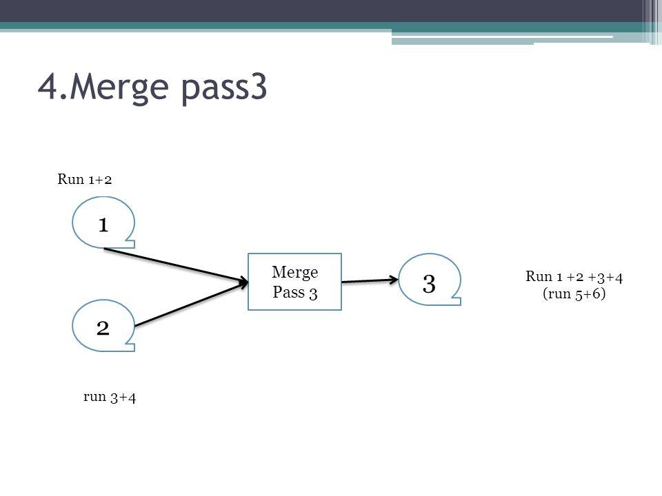 4.Merge pass3 1 3 2 Merge Pass 3 Run 1+2 Run 1 +2 +3+4 (run 5+6)