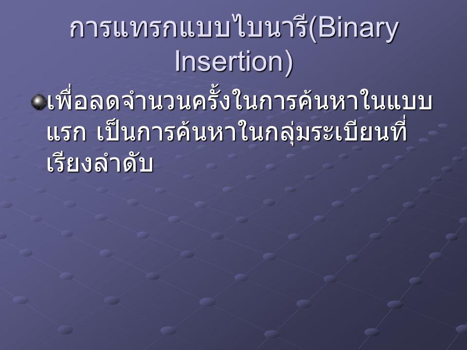 การแทรกแบบไบนารี(Binary Insertion)
