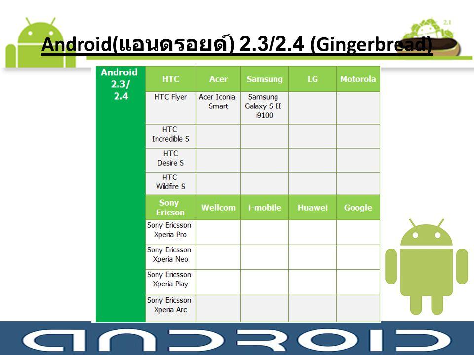 Android(แอนดรอยด์) 2.3/2.4 (Gingerbread)