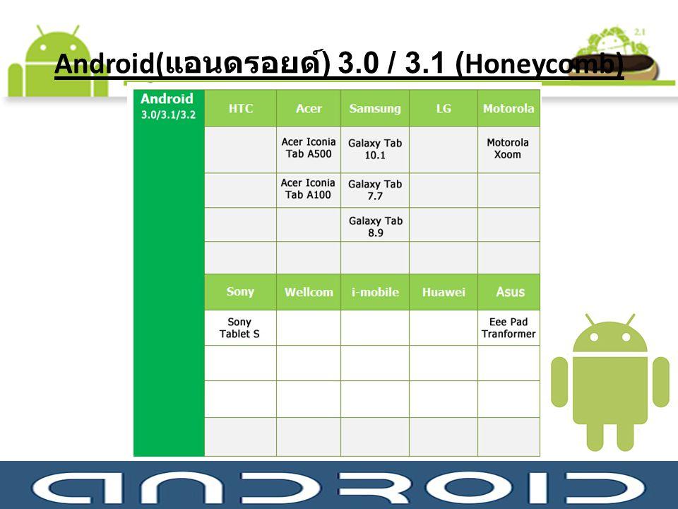 Android(แอนดรอยด์) 3.0 / 3.1 (Honeycomb)