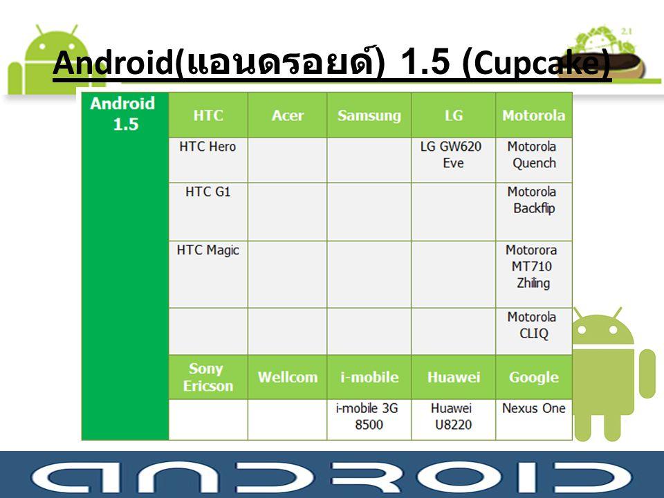 Android(แอนดรอยด์) 1.5 (Cupcake)