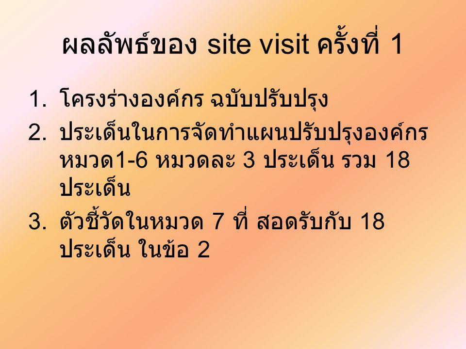 ผลลัพธ์ของ site visit ครั้งที่ 1