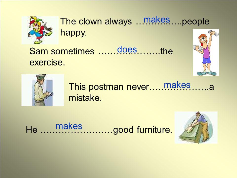 คลิกตรวจคำตอบ makes The clown always ………..…..people happy. does