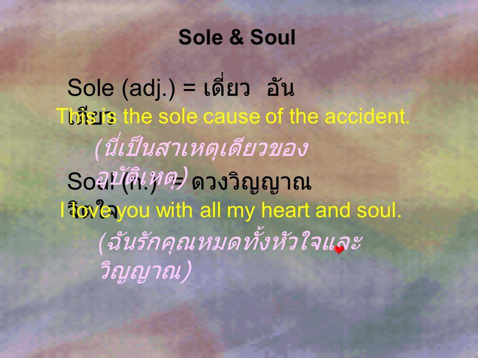 Sole (adj.) = เดี่ยว อันเดียว