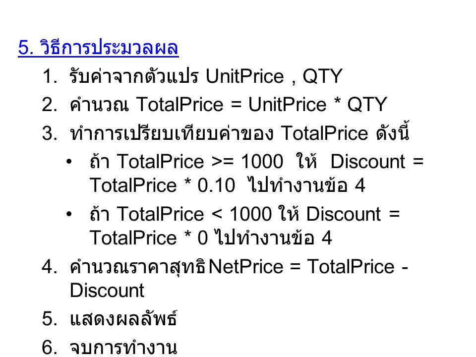 5. วิธีการประมวลผล รับค่าจากตัวแปร UnitPrice , QTY. คำนวณ TotalPrice = UnitPrice * QTY. ทำการเปรียบเทียบค่าของ TotalPrice ดังนี้