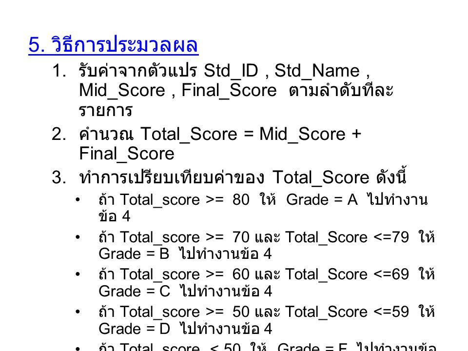 5. วิธีการประมวลผล รับค่าจากตัวแปร Std_ID , Std_Name , Mid_Score , Final_Score ตามลำดับทีละรายการ.