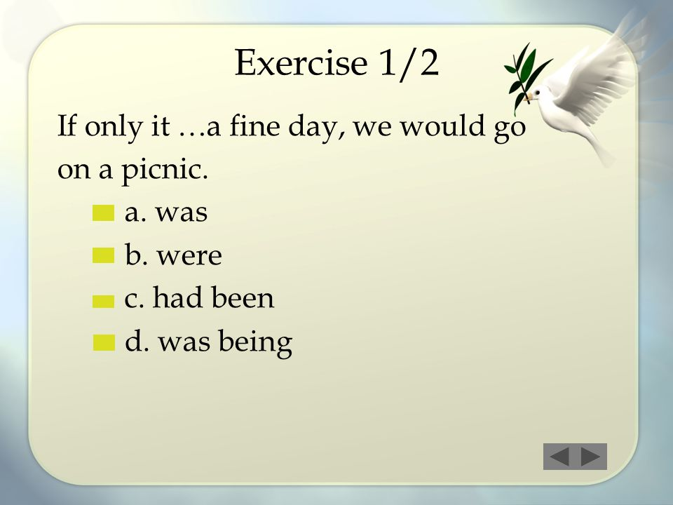 Exercise 1/2 If only it …a fine day, we would go on a picnic. a. was