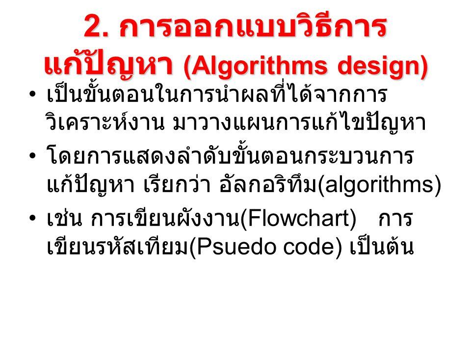 2. การออกแบบวิธีการแก้ปัญหา (Algorithms design)