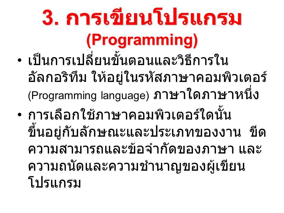 3. การเขียนโปรแกรม(Programming)