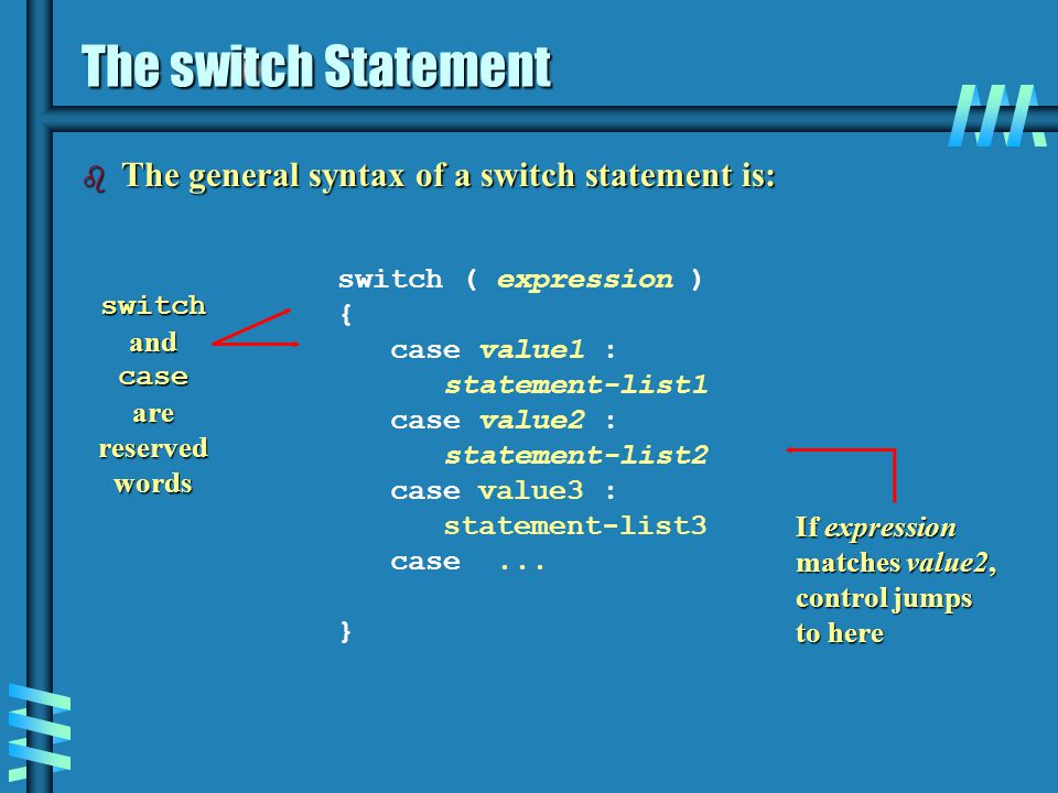 The switch Statement The general syntax of a switch statement is: