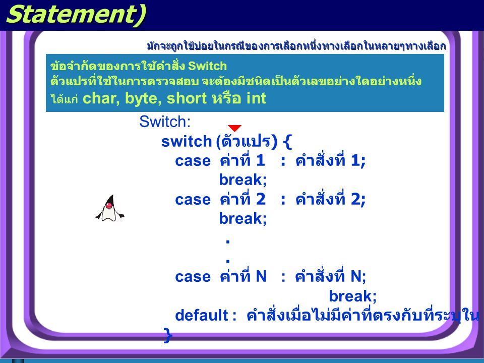 คำสั่ง switch (The switch Statement)