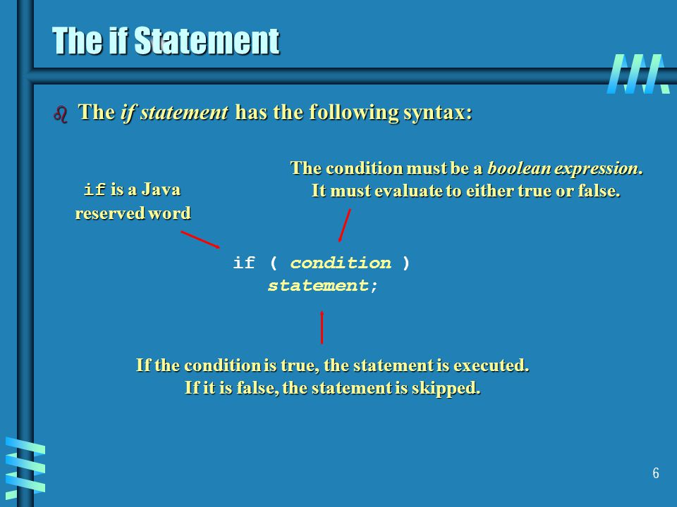 The if Statement The if statement has the following syntax:
