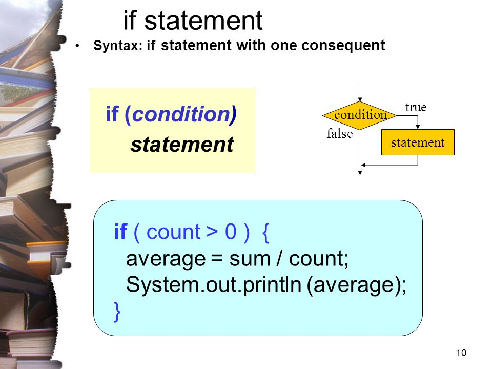 if statement statement if ( count > 0 ) { average = sum / count;