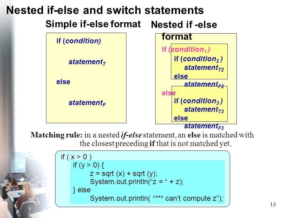 Nested if-else and switch statements