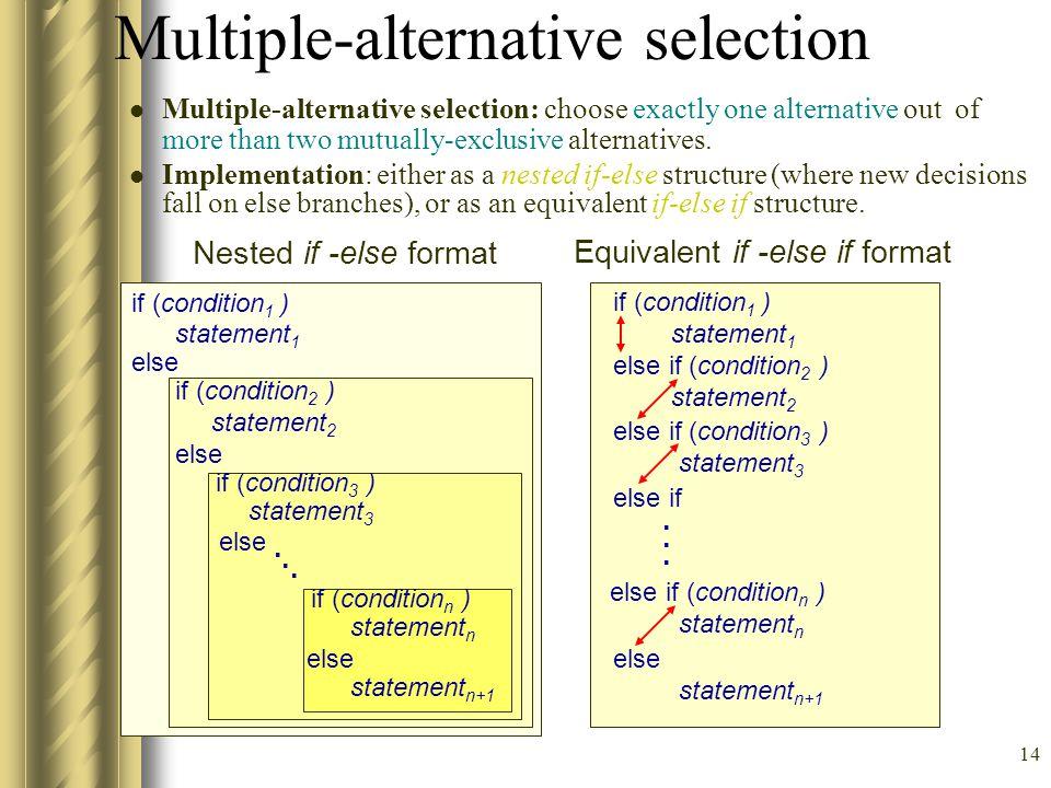 Multiple-alternative selection